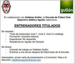 El C.D. Atlético Aguilar busca entrenadores