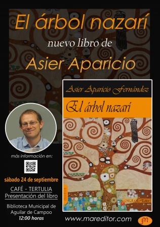 El escritor palentino Asier Aparicio presentará este sábado en la Biblioteca de Aguilar su última obra, 'El árbol nazarí'